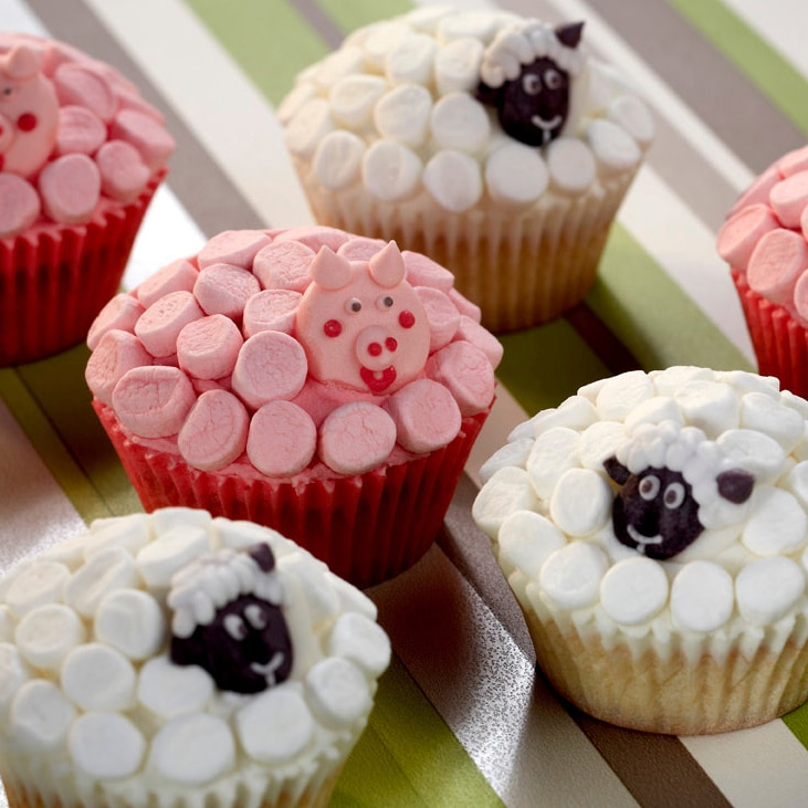 Cupcakes decorados- Pig & Sheep Cupcakes