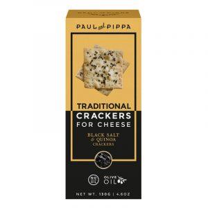 Crackers de Sal Negro e Arroz para Queijo Paul & Pippa 130g